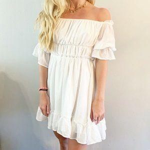 Lovers + Friends White Ruffle Mini Dress